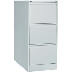 GO 3 DRAWER FILING CABINET SILVER GREY ASSEMBLED